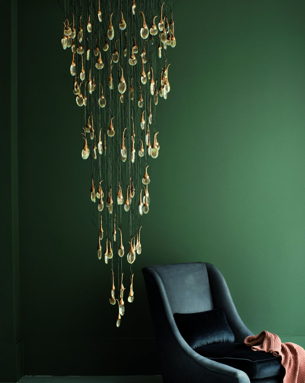 Contemporary Chandelier Gl Bronze Led Seed Cloud