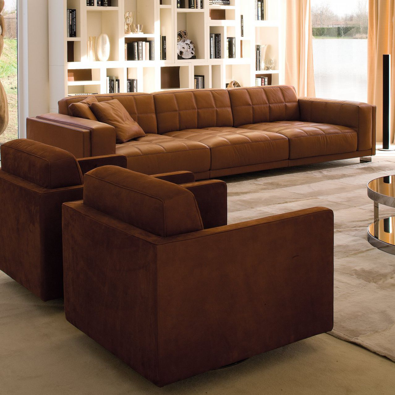 Contemporary sofa / leather / 4-seater / black - PALACE ...