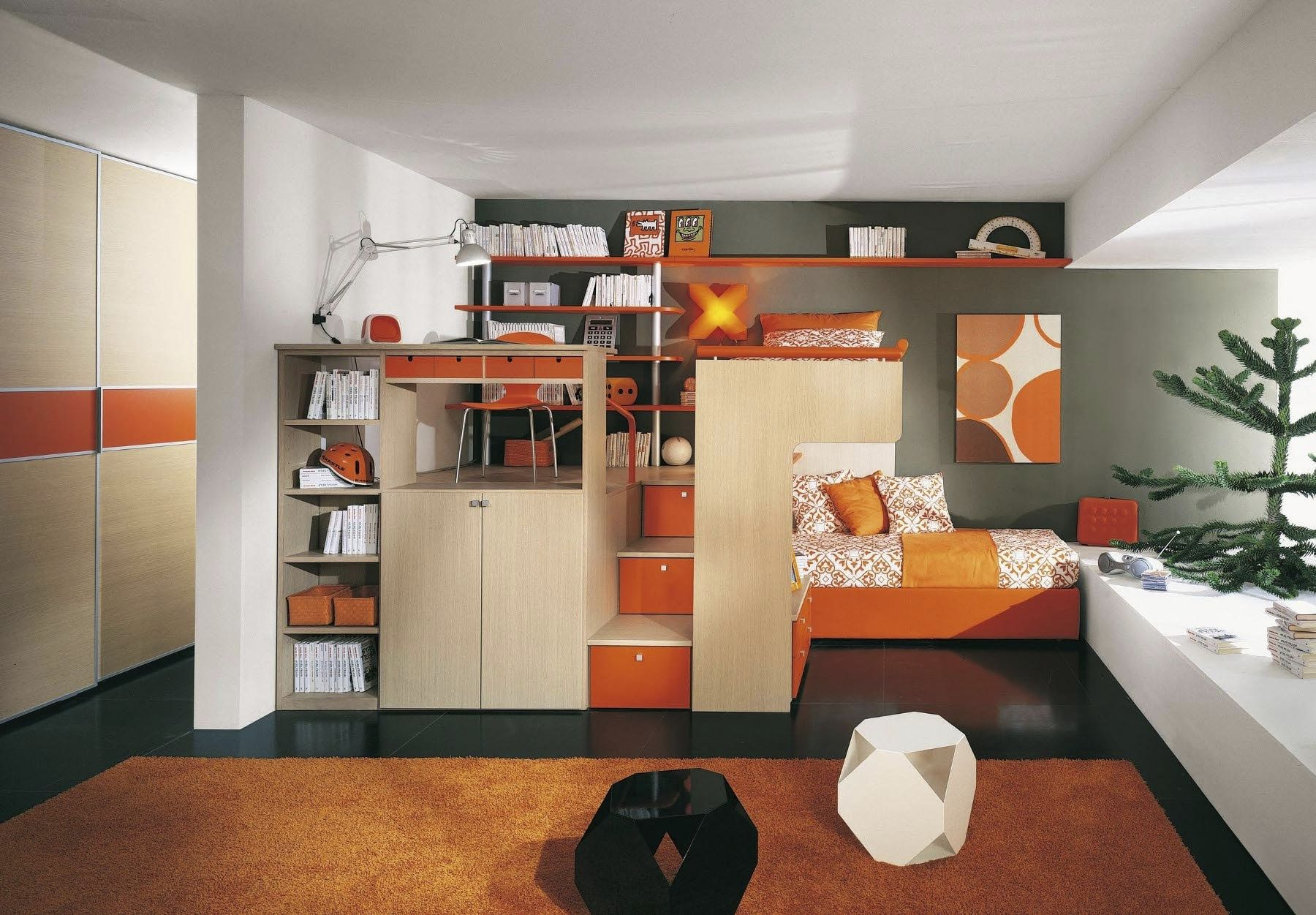 Orange Children S Bedroom Furniture Set Arcamagica 2 Sangiorgio Mobili Unisex