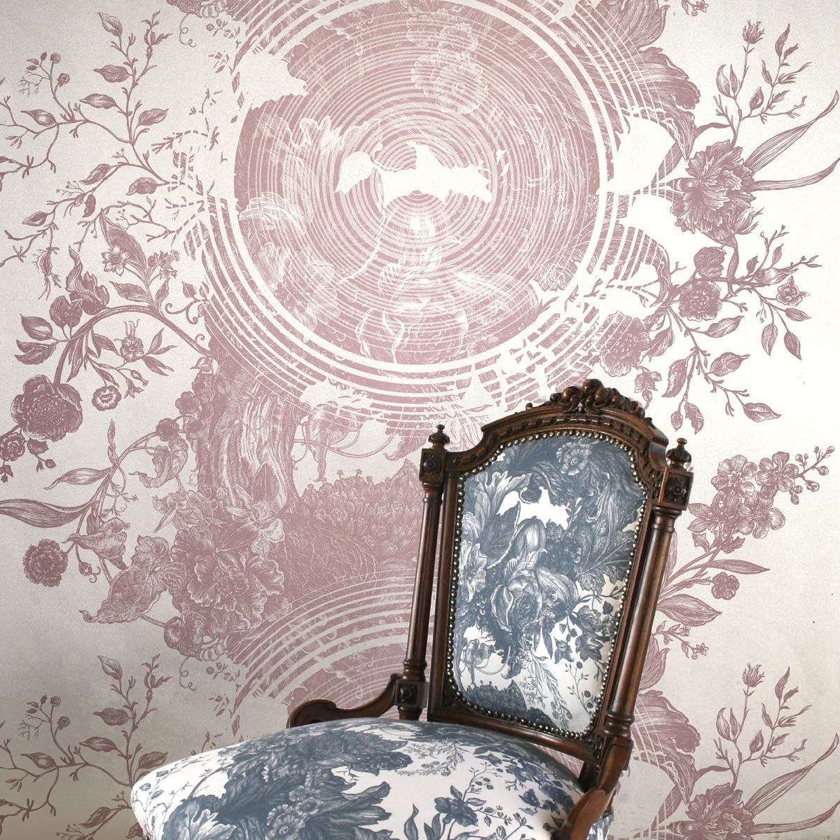 Traditional Wallpaper Vinyl Floral Blue Tree Of Life