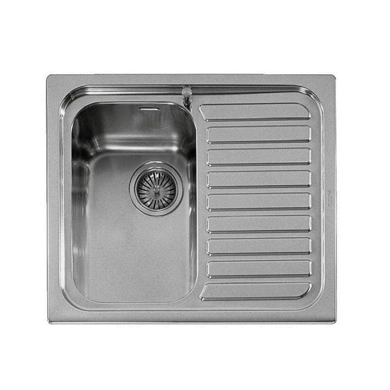 Lavelli Cucina 60 Cm.Single Bowl Kitchen Sink Outlet Alpes Inox Stainless Steel Overmount With Drainboard