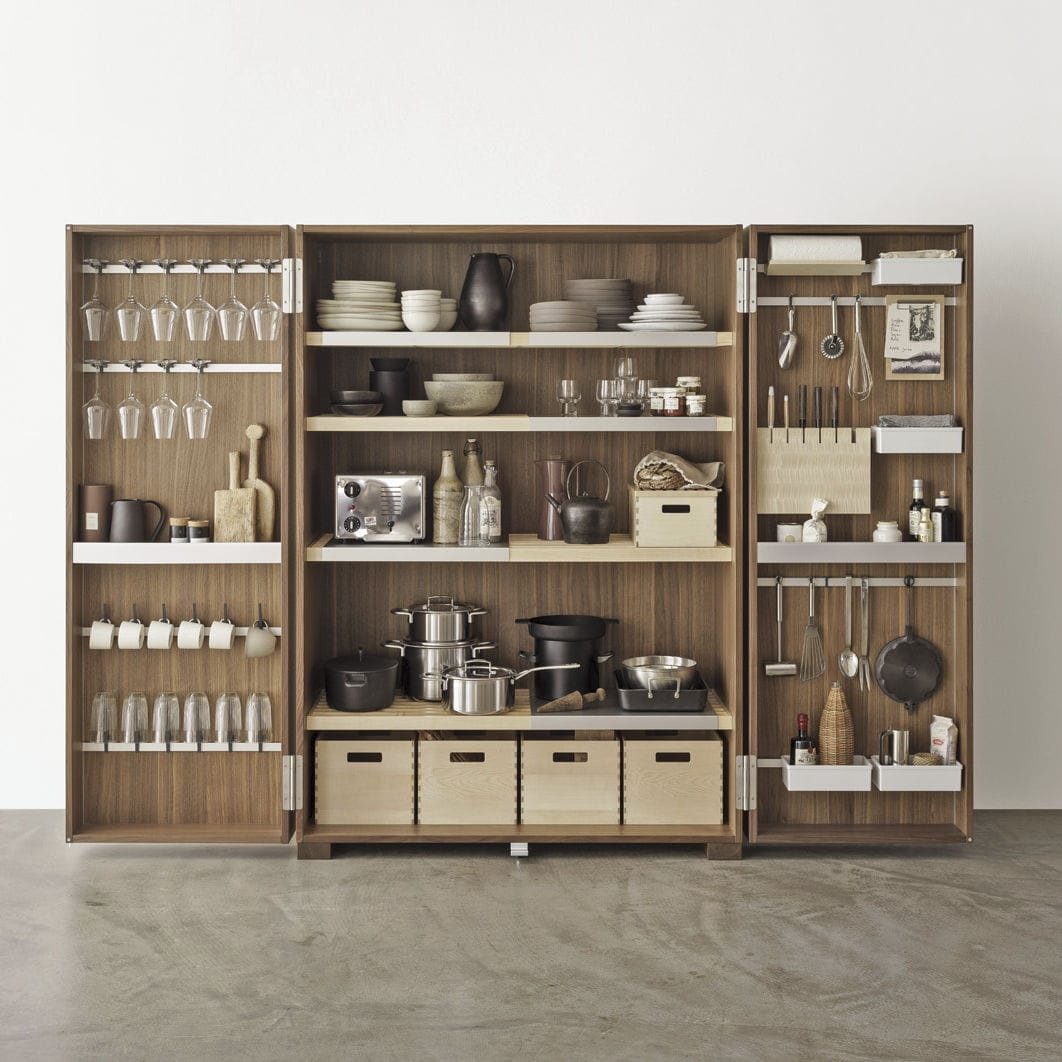 Contemporary Storage Cabinet For Kitchen Walnut Tool