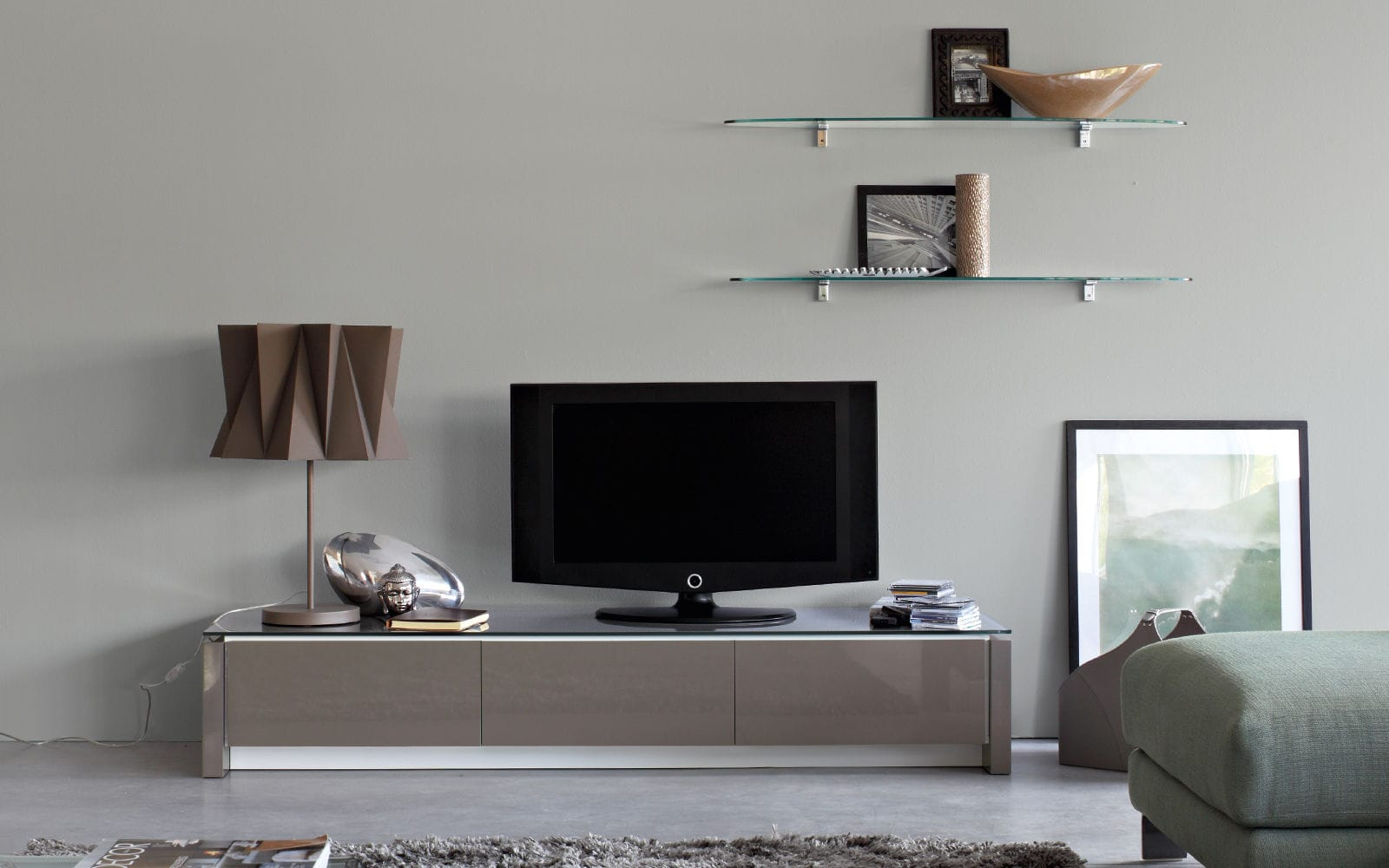 Calligaris Porta Tv.Contemporary Tv Cabinet Lowboard Wooden Glass
