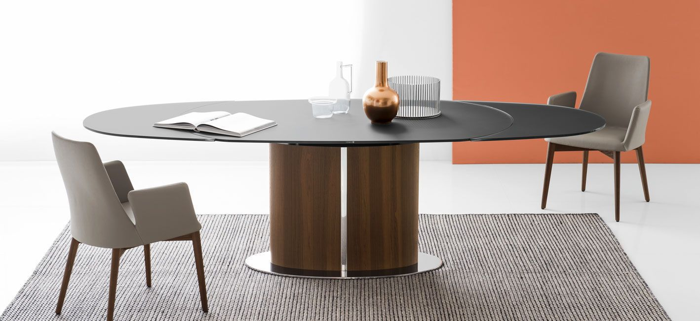 Tavolo Allungabile Vetro Calligaris.Contemporary Dining Table Tempered Glass Metal Oval