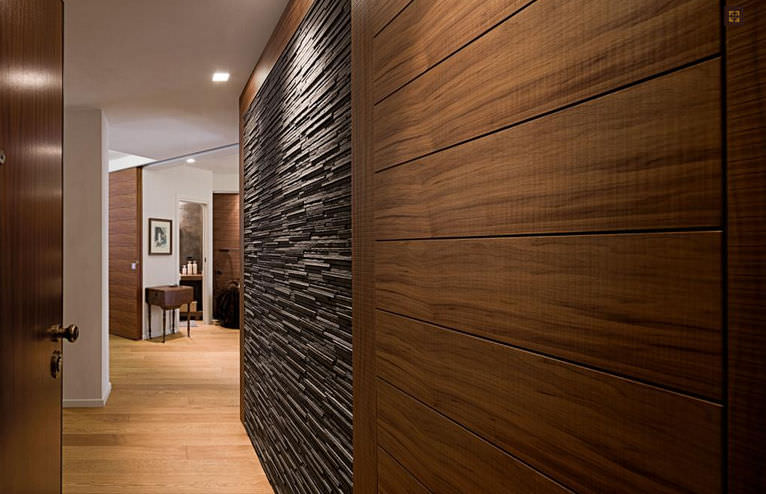 Wood Decorative Panel Solid Wall Mounted Colored Trend Walnut By Gianluca Tomai