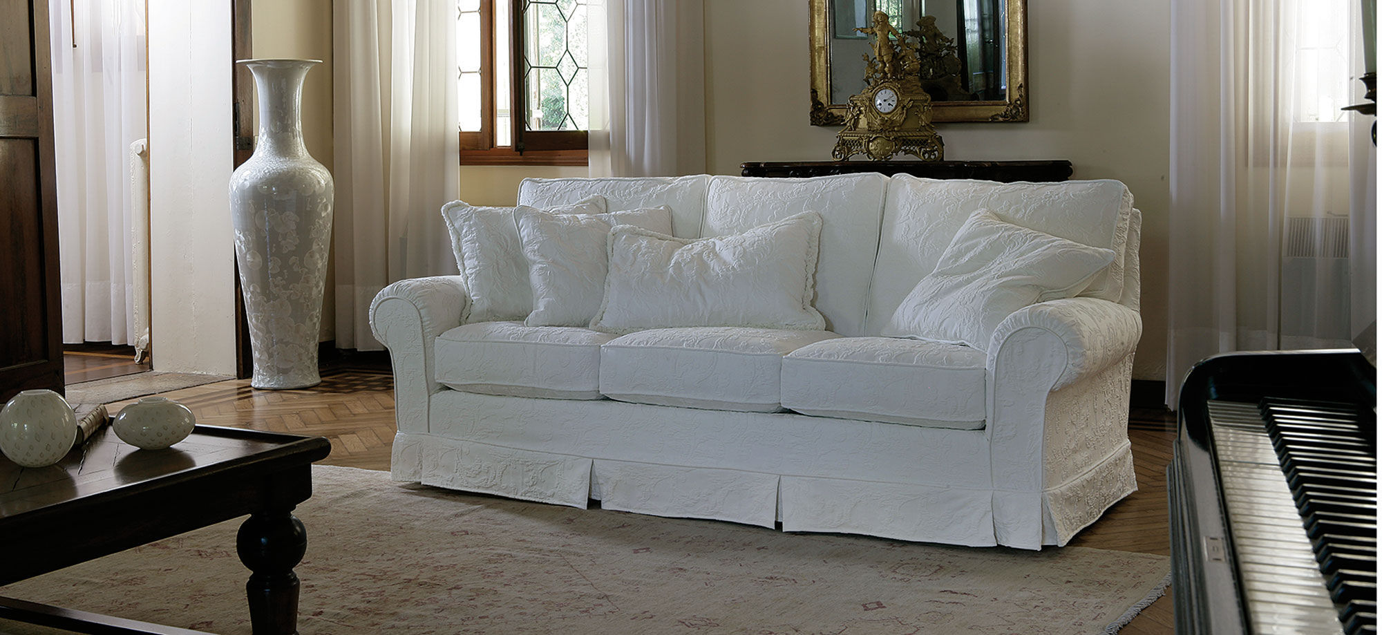 Contemporary Sofa Fabric With Removable Cover Brioni