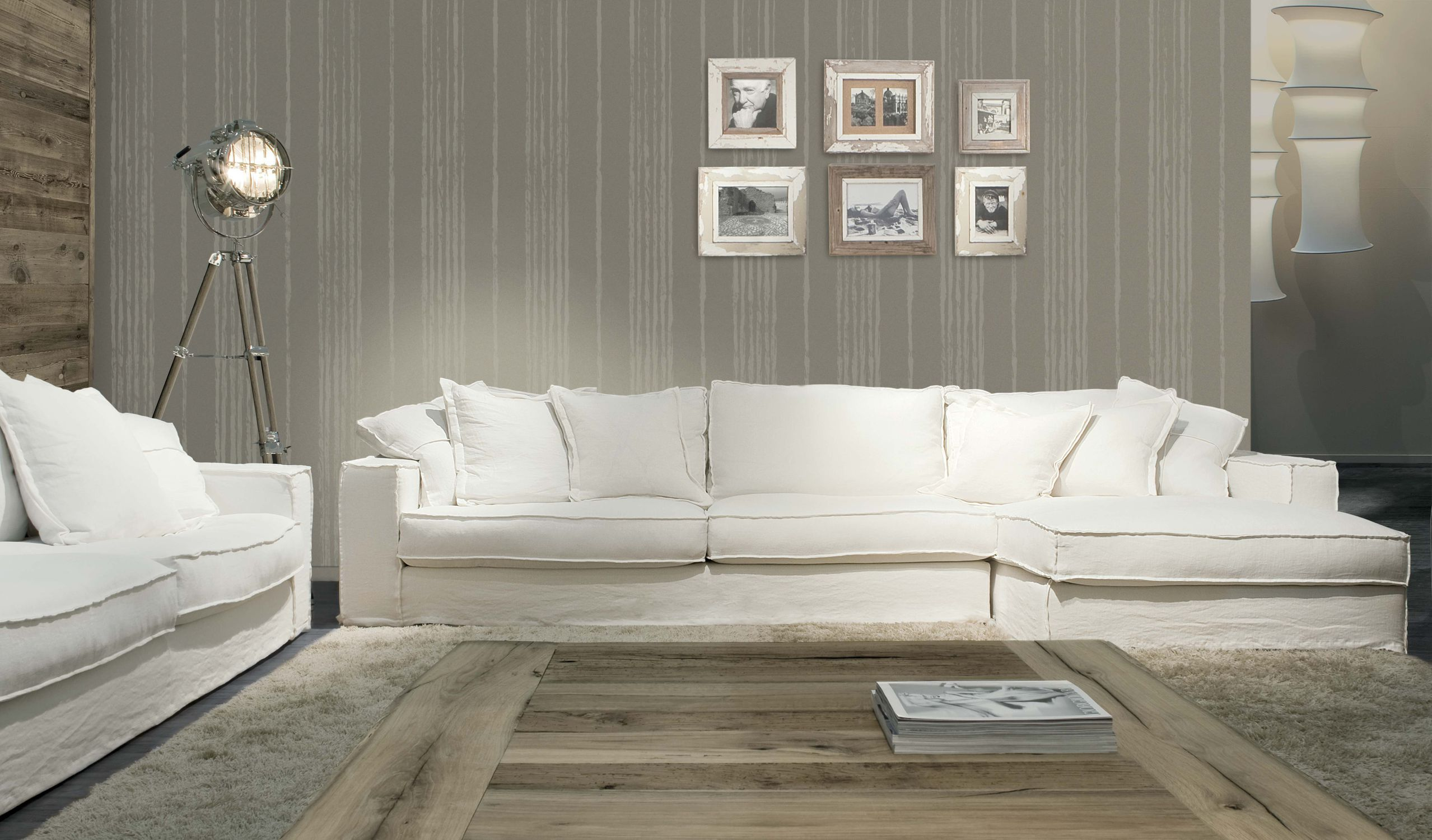 Corner sofa contemporary fabric with removable cover KEY