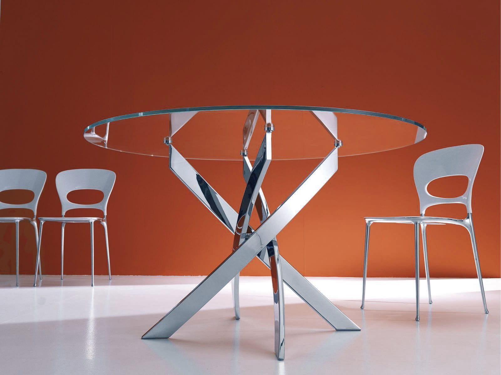 Tavolo Rotondo Vetro Design.Contemporary Dining Table Barone Bontempi Casa Glass Round