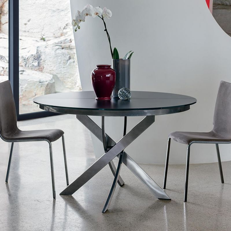 Contemporary Dining Table Gl Round Barone