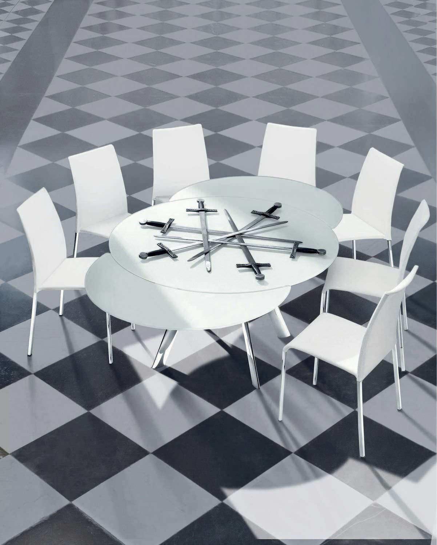 Tavolo Rotondo Vetro Design.Contemporary Table Giro Bontempi Casa Glass Round Extending