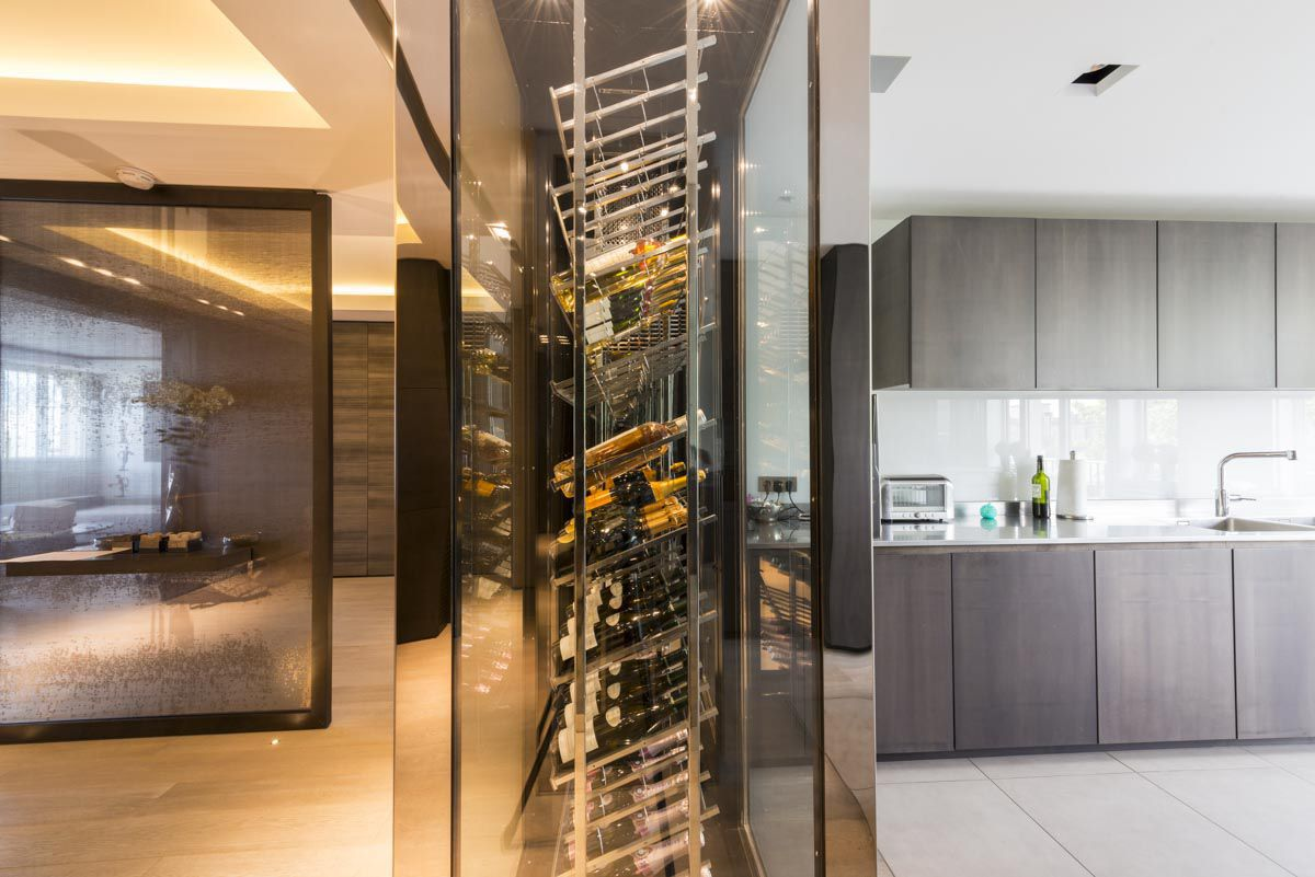 Cave A Vin Design stainless steel wine cabinet / custom / integrated lighting