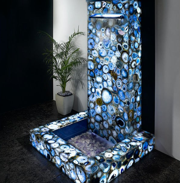 Bathroom Tile Wall Floor Semiprecious Stone Gemstone Blue Agate