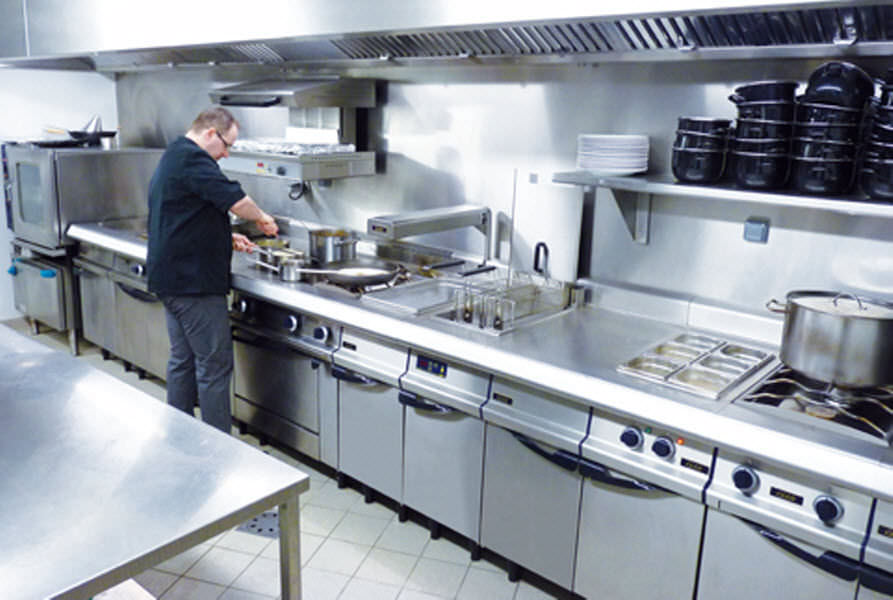 Stainless steel commercial kitchen / modular / with handles ...