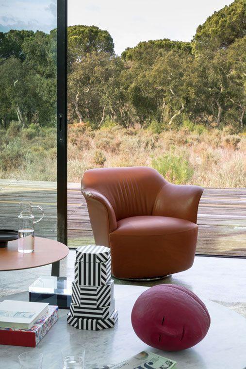 Contemporary armchair - AIDA - POLTRONA FRAU - fabric / leather ...