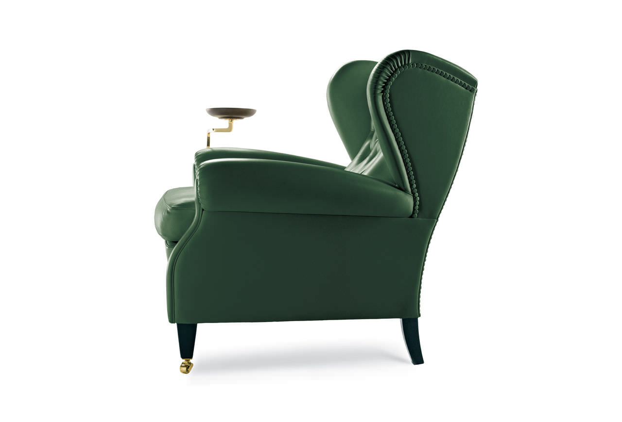 Frau Poltrone.Traditional Armchair Canvas Leather Wing 1919 By