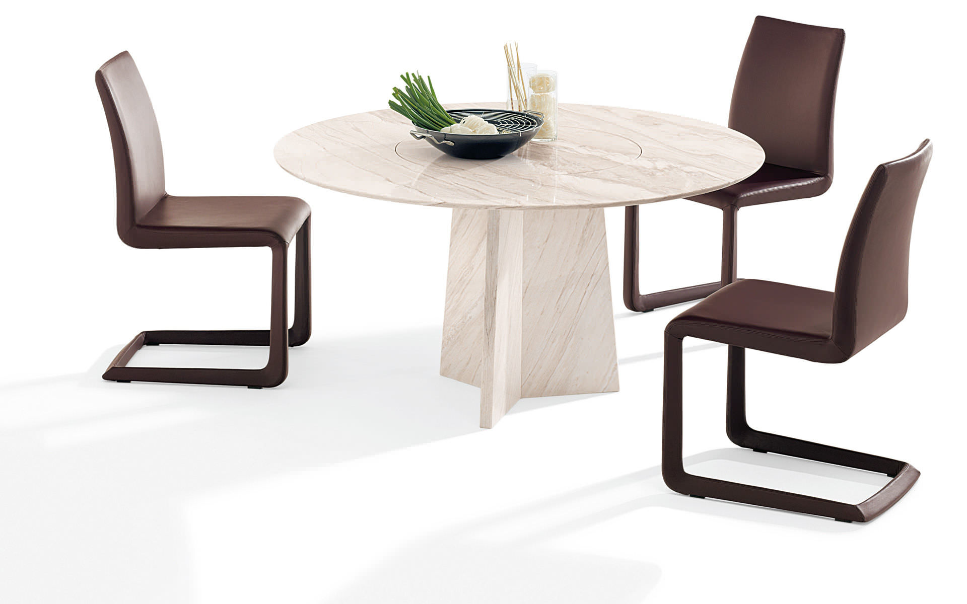 Contemporary Dining Table 1515 Tadao Draenert Glass Natural Stone Round