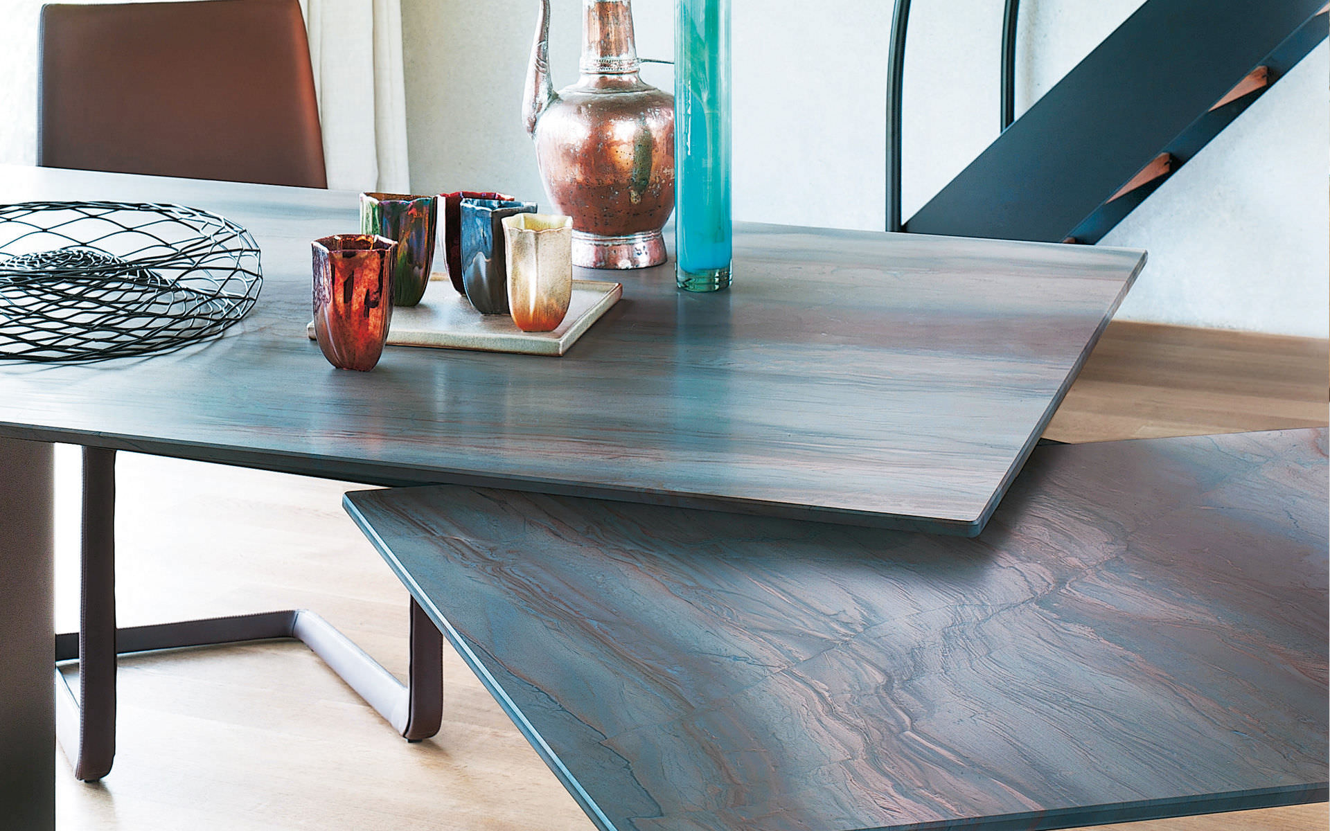 Contemporary Dining Table Metal Natural Stone