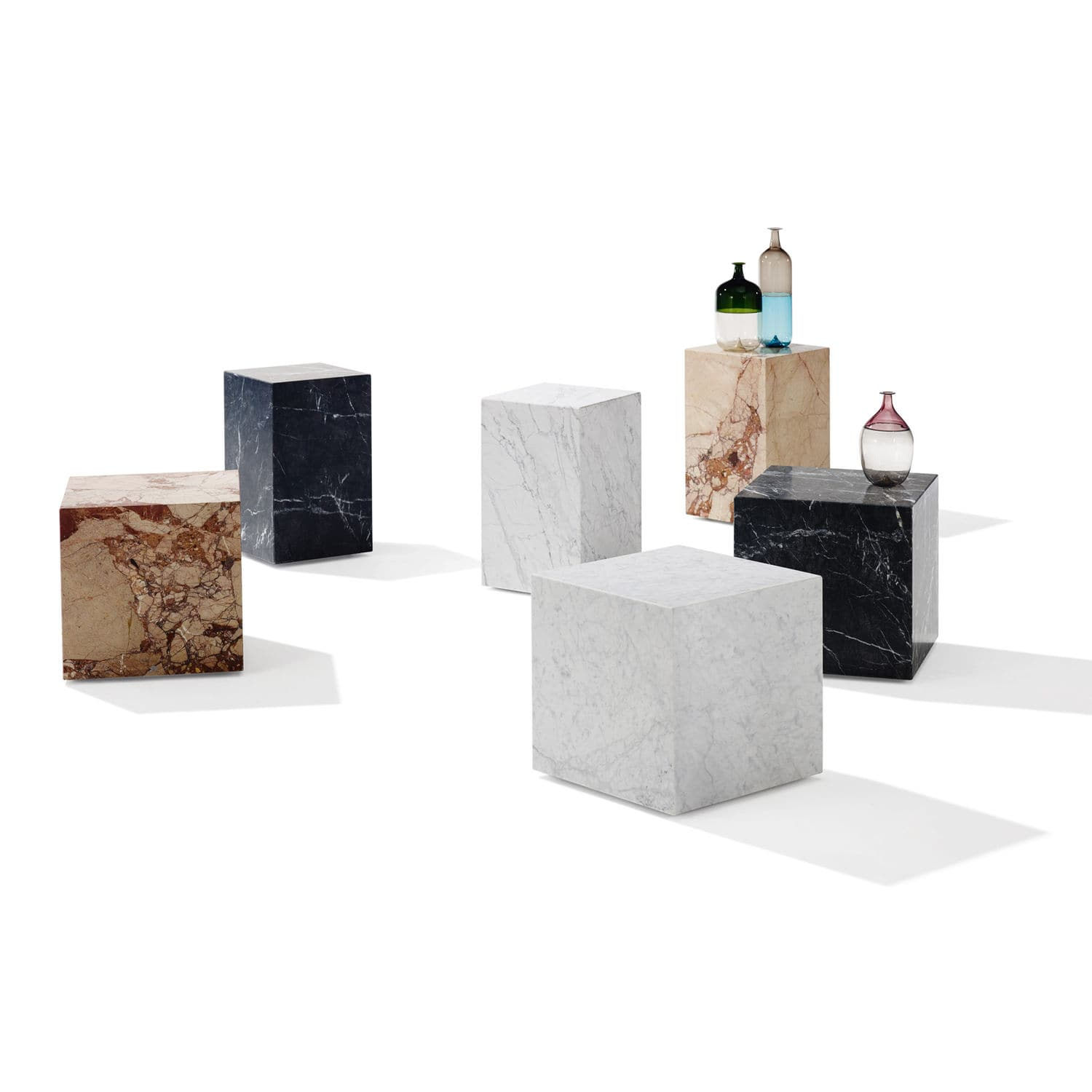 Contemporary Side Table 1365 Qbic Draenert Natural Stone Cube Shaped