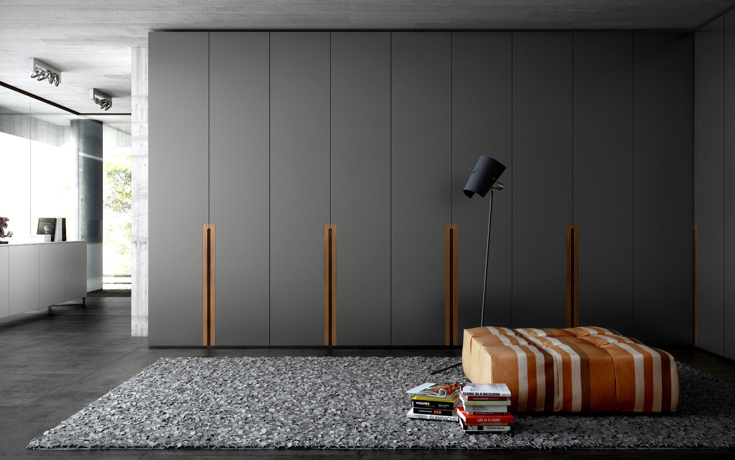. Contemporary wardrobe   wooden   lacquered wood   with swing doors