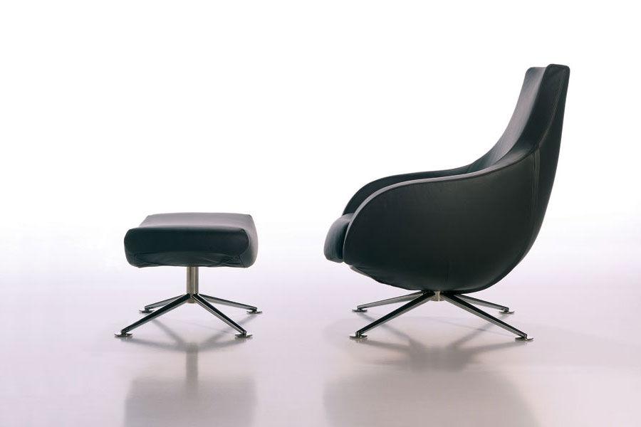 Sensational Contemporary Armchair Fabric Leather With Footrest Inzonedesignstudio Interior Chair Design Inzonedesignstudiocom