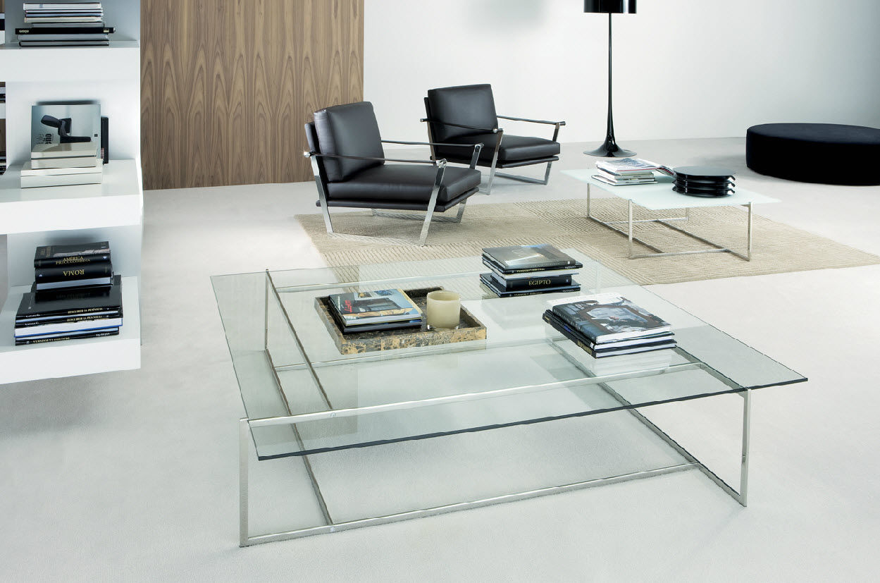 Picture of: Contemporary Coffee Table C Casadesus Glass Stainless Steel Square