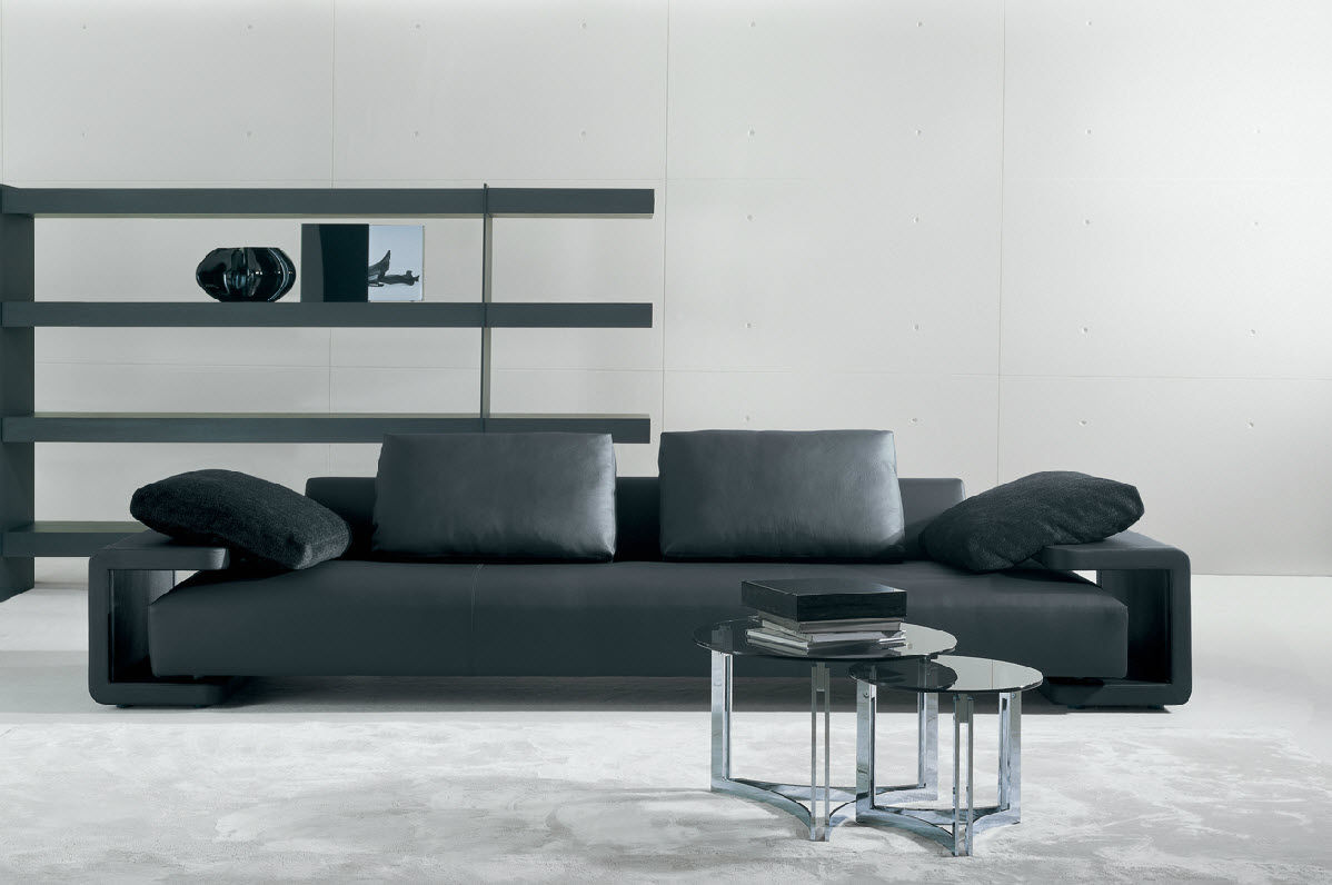 Corner sofa / contemporary / leather / 7-seater and up ...