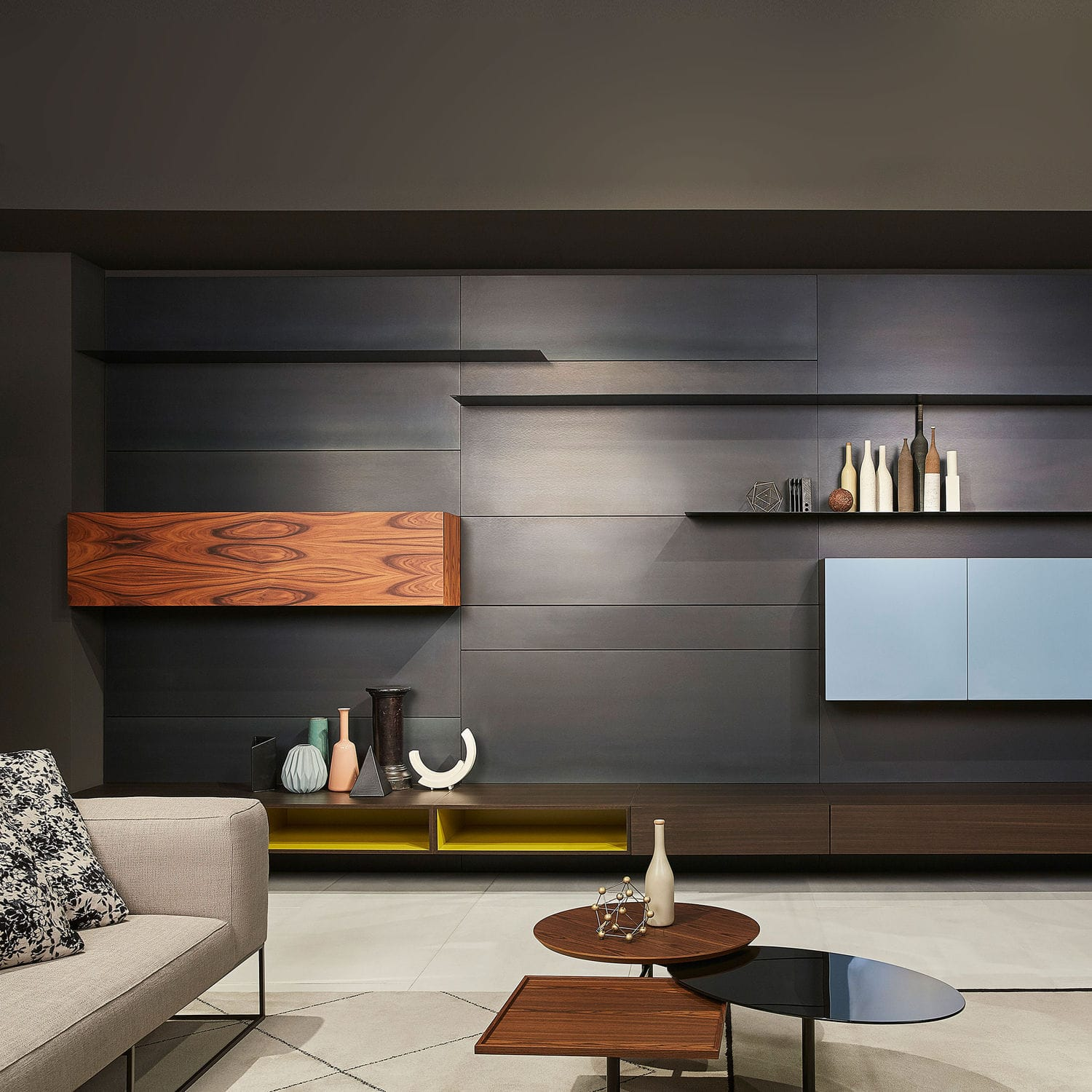 Contemporary living room wall unit / wooden / steel - LOAD ...