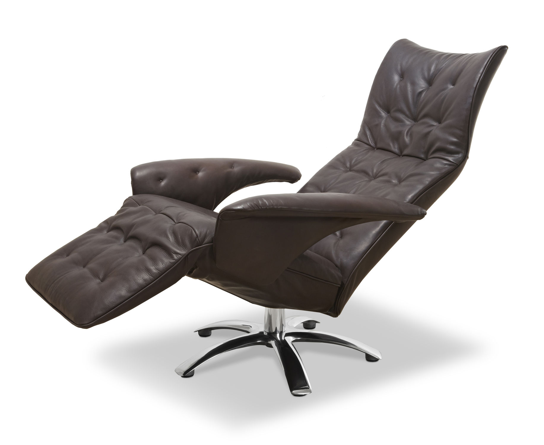 Contemporary Armchair Fabric Leather With Headrest