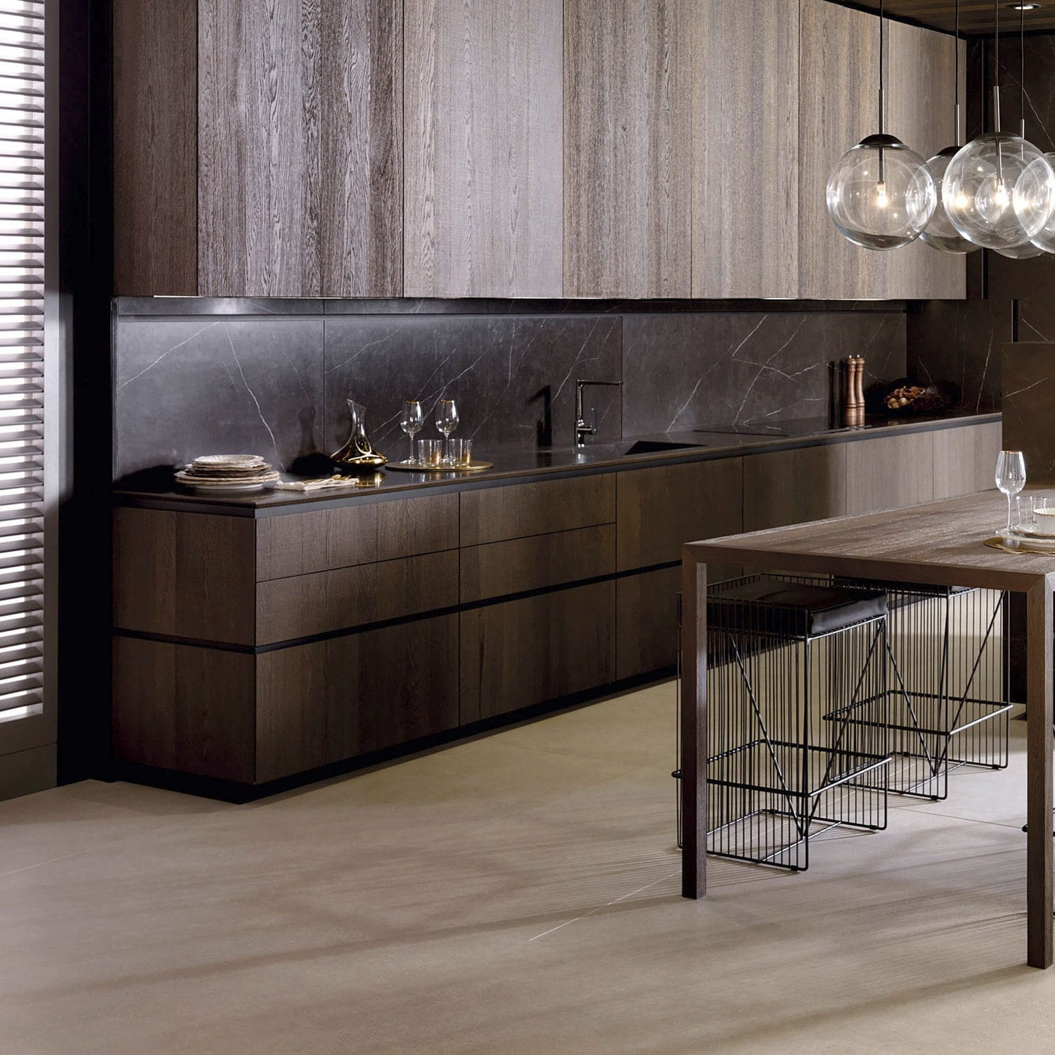 Contemporary Kitchen Emotions E9 30 Premium Gamadecor Porcelanosa Grupo Oak Particle Board Steel