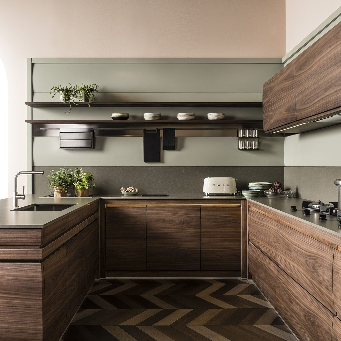 Contemporary Kitchen Solid Wood Lacquered Wood Walnut