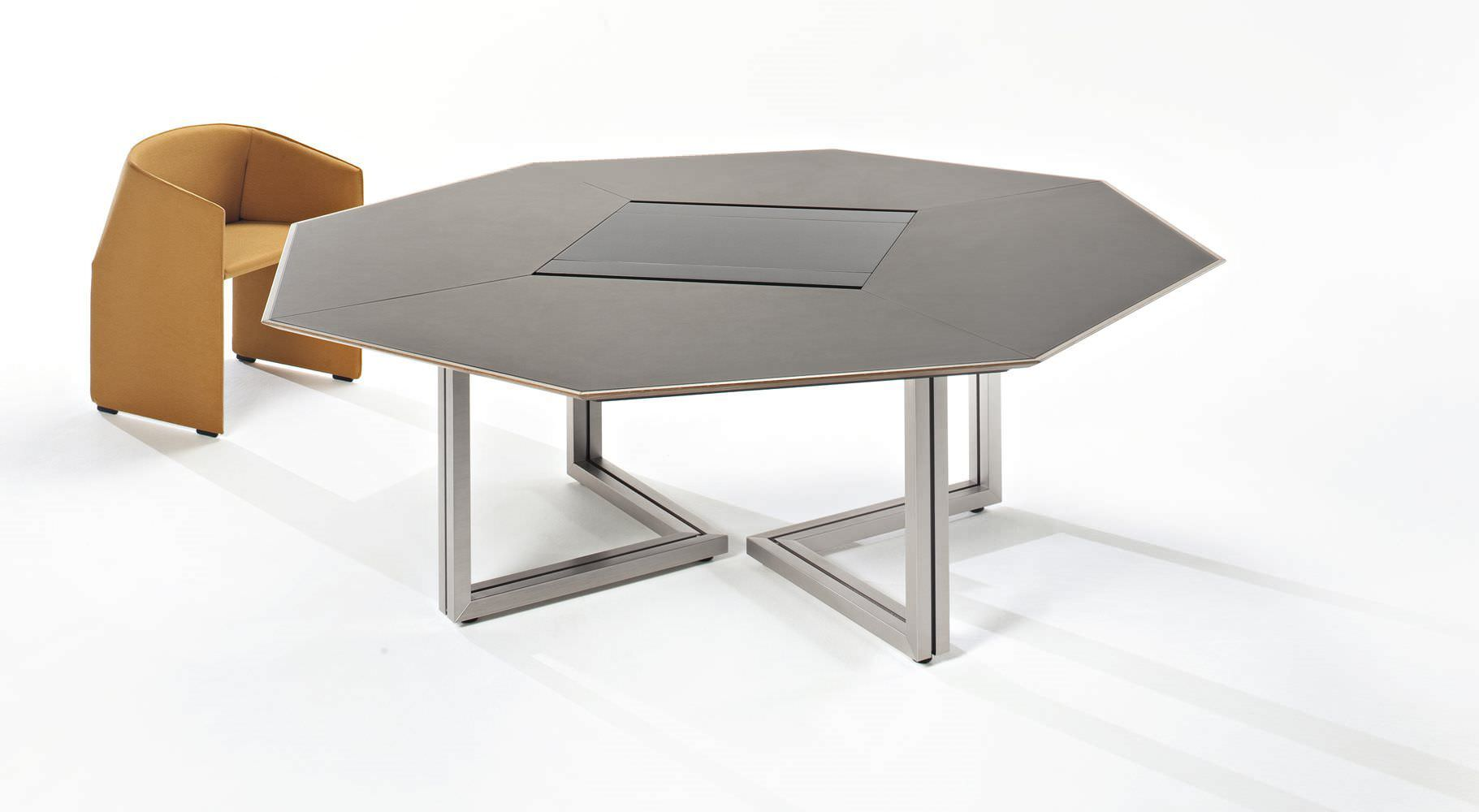 Contemporary Boardroom Table Vara T503 Tecno Oak Octagonal
