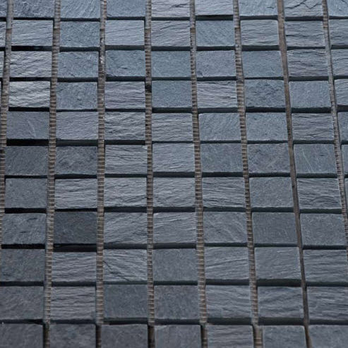 Indoor Mosaic Tile Floor Slate Geometric Mignon Black Uruguay