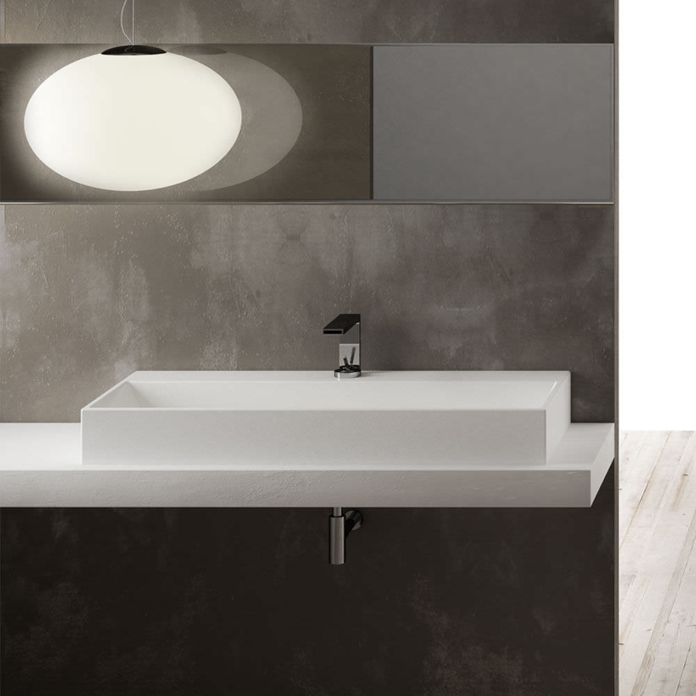 Wall Mounted Washbasin Rectangular Ceramic Contemporary