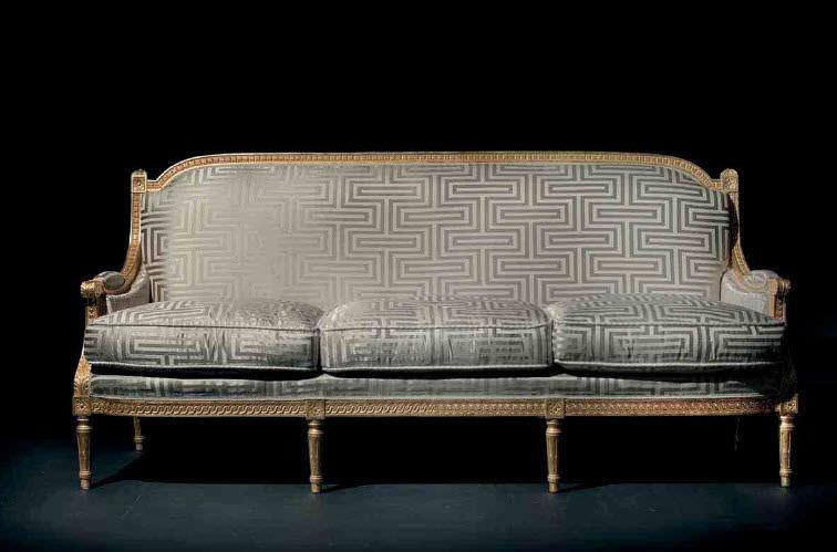 Louis Xvi Style Sofa Fabric 3 Seater Anthracite