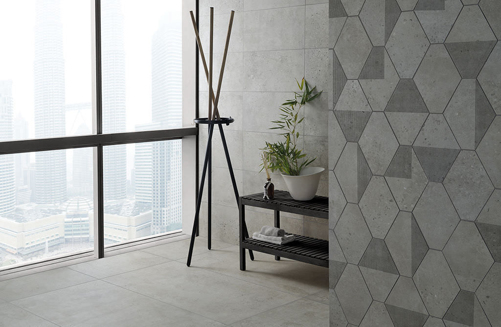 Bathroom tile / floor / porcelain stoneware / geometric pattern