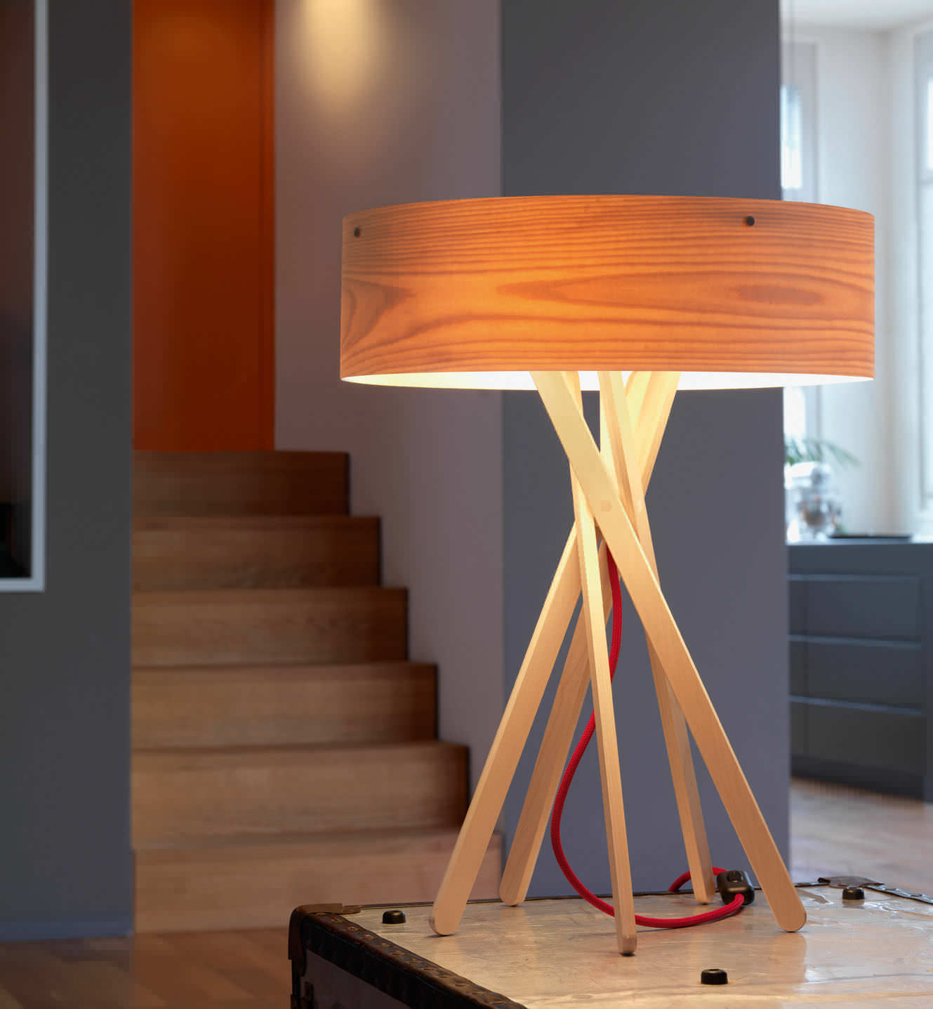 Table Lamp Contemporary Wooden Fluorescent