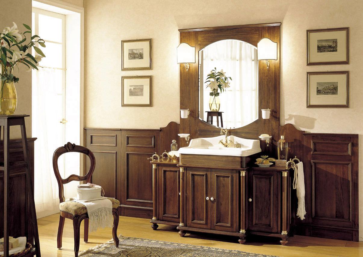 Foto Bagni Stile Country walnut washbasin cabinet - old england - mobili di castello
