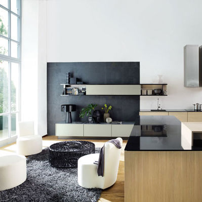 Contemporary Living Room Wall Unit Lacquered Wood Shelving
