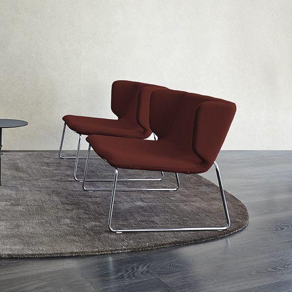 Astounding Contemporary Fireside Chair Fabric Steel Sled Base Creativecarmelina Interior Chair Design Creativecarmelinacom