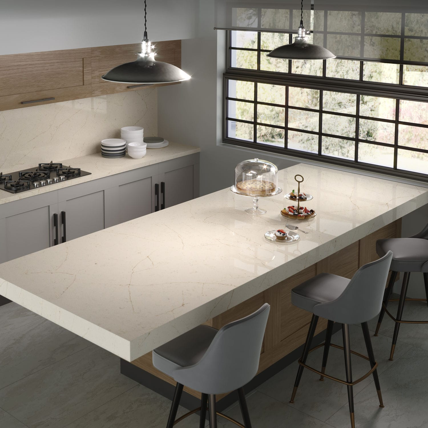Silestone® countertop / kitchen / white / gray - MARFIL ...