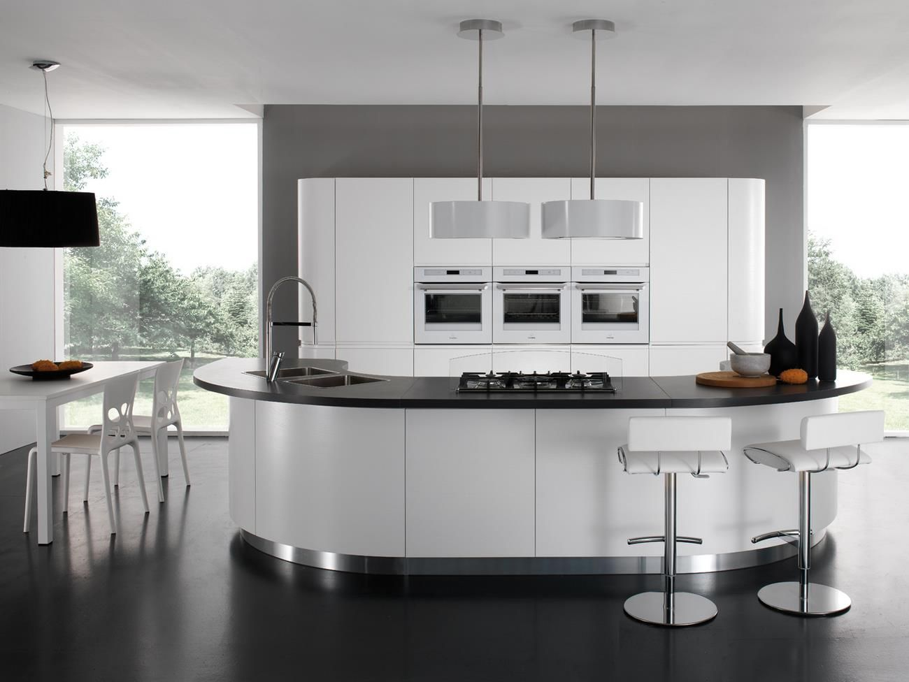 Cucine Moderne Curve.Contemporary Kitchen Laminate Round Lacquered Seven