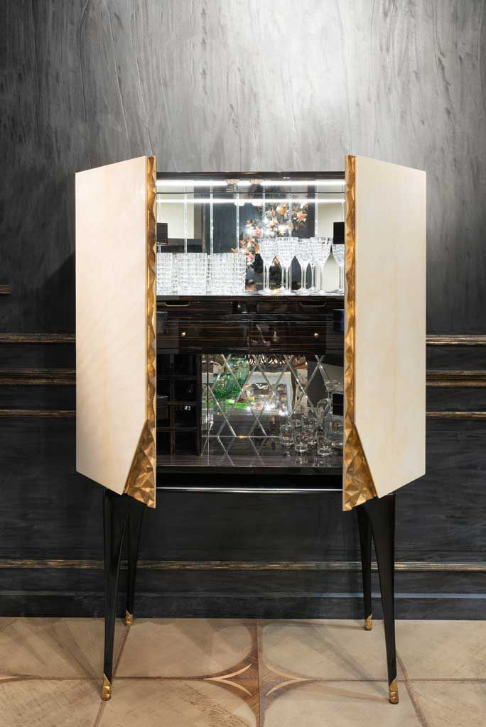 Art Deco Bar Cabinet Wooden With Built In Light