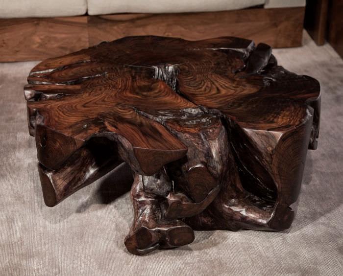Finest Contemporary coffee table / Plexiglas® / teak / rosewood - ROOT  CJ15