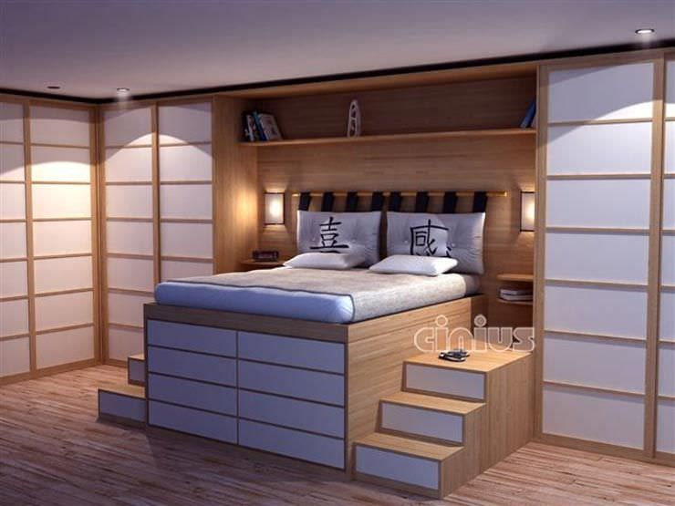 Double Bed Contemporary Wooden Impero Cinius
