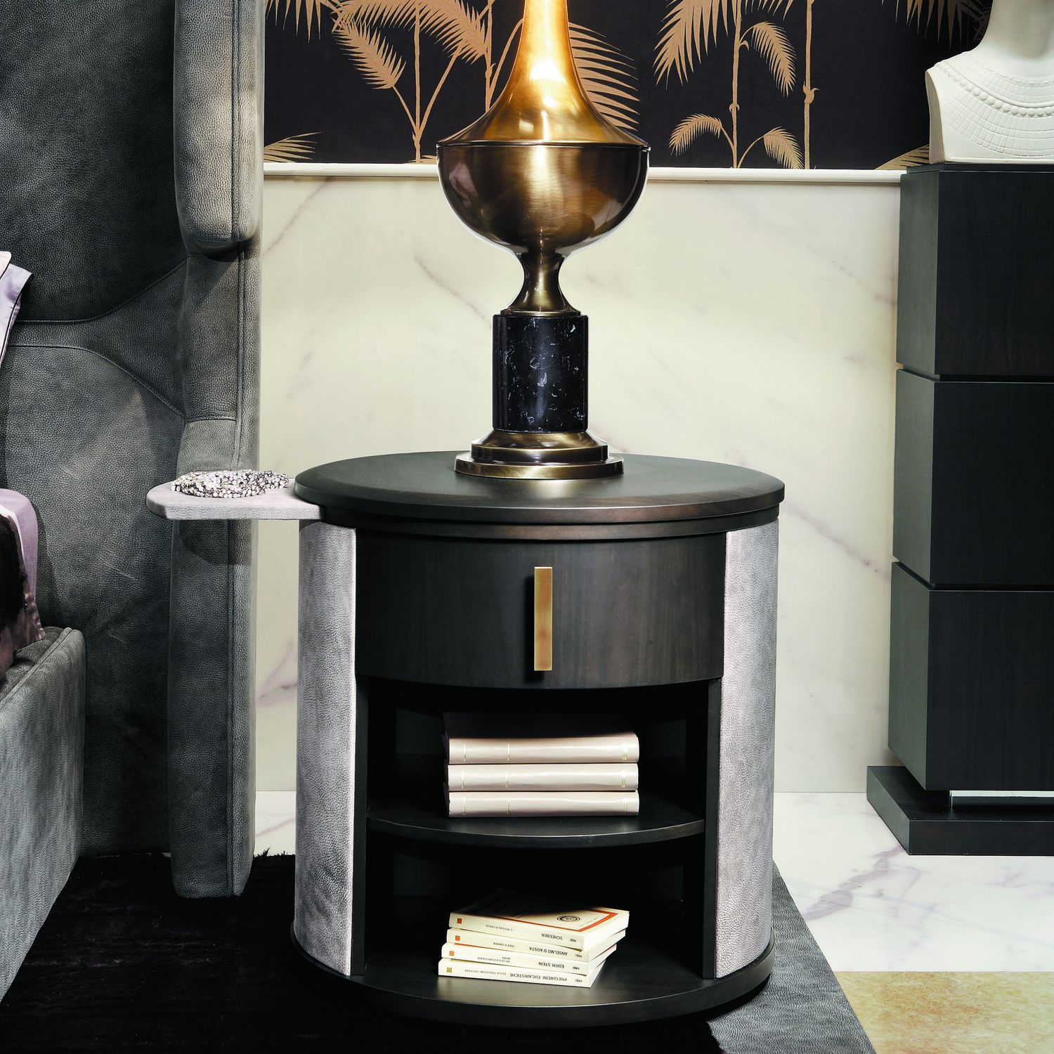 Traditional Bedside Table Wooden Leather Round