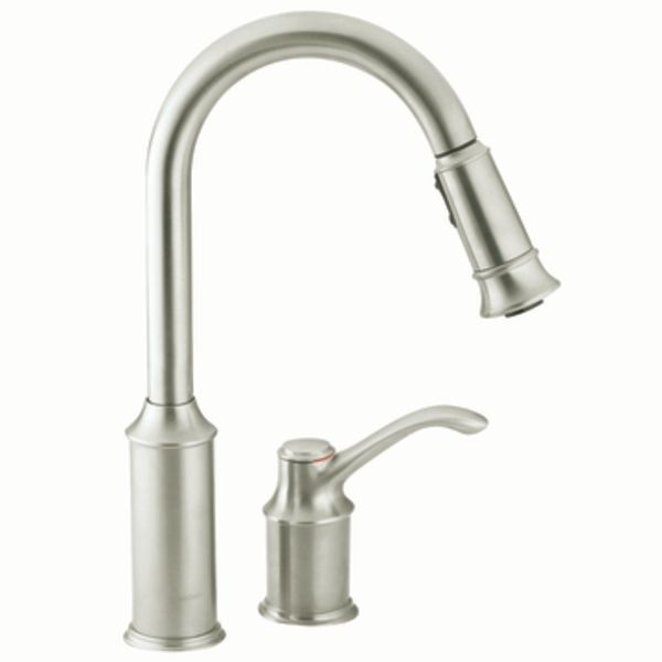 Countertop Mixer Tap Aberdeen 7590csl Moen Stainless Steel Self Closing Kitchen