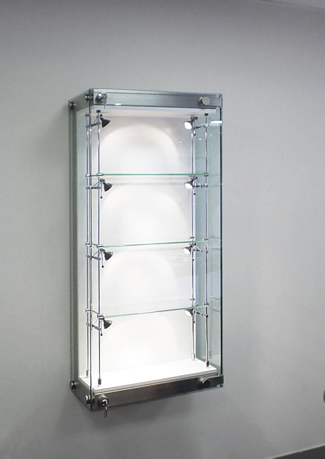 Contemporary Display Case Wall Mounted Gl Stainless Steel Wfg001