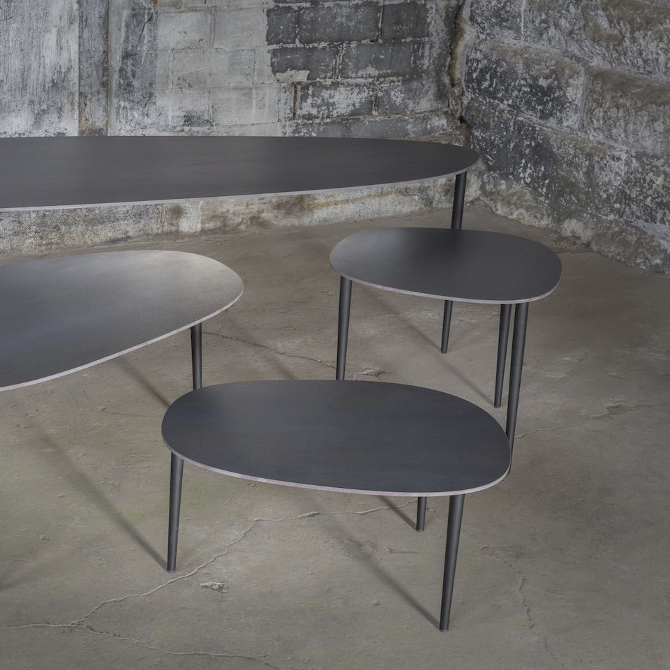 Contemporary Coffee Table Lacquered Steel Ceramic Fuzgal Triss