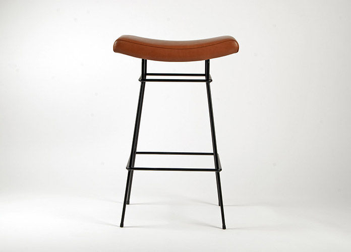 Contemporary Bar Stool Leather Metal Commercial Bienal By Fernando Jaeger