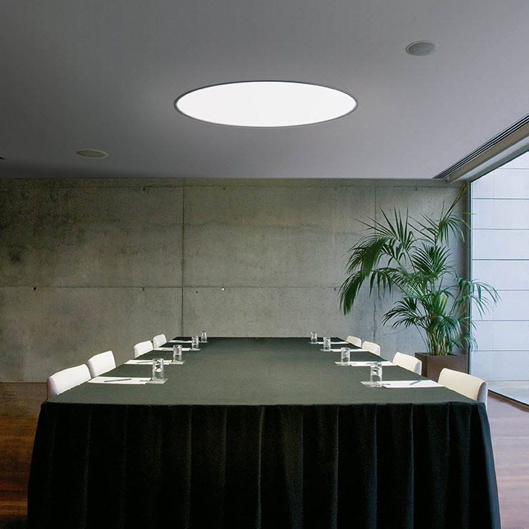 Contemporary Ceiling Light Round Steel Methacrylate Built In
